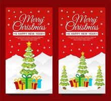 vertikale Bannervorlagen für Weihnachten und Neujahr vektor