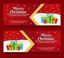 Frohe Weihnachten und Frohes Neues Jahr Banner Vorlagen vektor