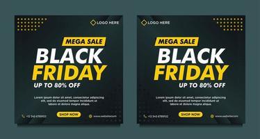 svart och gul svart fredag försäljning sociala medier mallar vektor