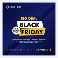 blå svart fredag försäljning sociala medier banner mallar