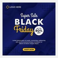 blå svart fredag försäljning sociala medier banner mallar vektor