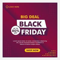 lila gradient svart fredag försäljning sociala medier banner mall vektor