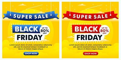 svart fredag händelse sociala medier banners med himmel tema vektor