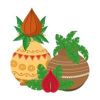 indiska lotusblommor i porslinskrukor