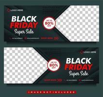 svart fredag mega försäljningsbannrar i svart och rött vektor