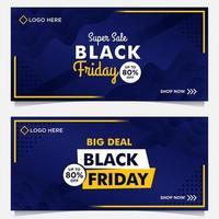svart fredag försäljning banner i blått och gult vektor