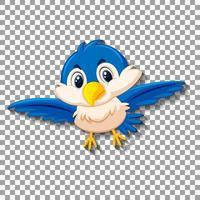 niedliche blaue Vogel-Zeichentrickfigur vektor