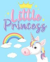 kleiner Prinzessintext in Pastellfarbe mit niedlichem Einhorn