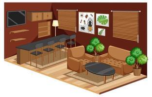vardagsrumsinredning med möbler i brun färgstil