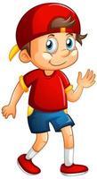 ein Junge, der rote Kappe auf weißem Hintergrund trägt