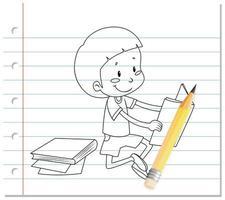 Junge, der Buchumriss auf Papier liest