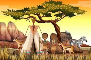 Menschen afrikanischer Stämme in traditioneller Kleidung Naturszene vektor