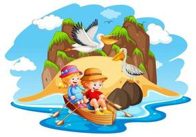 barn roddbåt strand scen