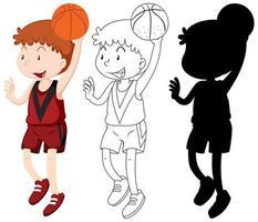 Basketballspieler in Farbe, Umriss, Silhouette vektor