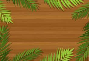 Draufsicht auf leeren Holztisch mit Blättern vektor