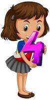 flicka som håller matte nummer fyra