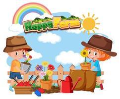 glücklicher Bauernhoftext mit glücklichen Kindergartenarbeit vektor