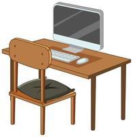 Computer auf Schreibtisch isoliert auf weißem Hintergrund