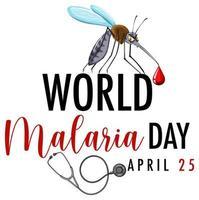 värld malaria dag banner med mygga vektor