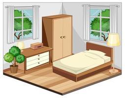 sovrumsinredning med möbler i beige tema