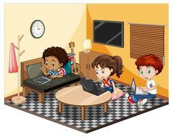 Kinder im Wohnzimmer in der gelben Themenszene vektor