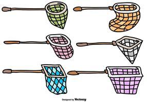 Vektor Butterfly Net Cartoon Icon Set