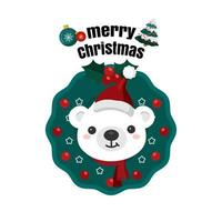 Weihnachten in der Nähe mit Weihnachtsmütze im Kranz
