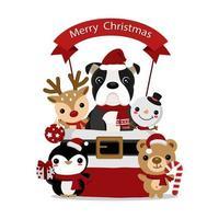 Weihnachtsentwurf mit niedlichen Tierfreunden