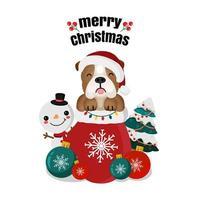 Weihnachtsentwurf mit Hund im Strumpf und Schneemann