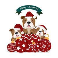 Weihnachtsbullenhunde in Weihnachtsmütze und Ornamenten