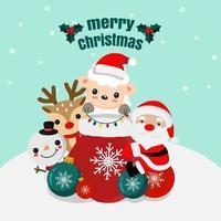 Weihnachtsszene mit Weihnachtsmann und Tierfreunden