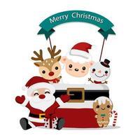 santa och söta vänner jul design