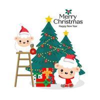 Weihnachtsschaf in Weihnachtsmützen, die Bäume schmücken