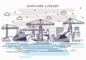Schiffswerft Arbeit Lineart Illustration