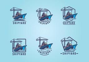 Werft Emblem Logo Set vektor
