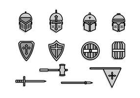 Templer-Kavallerie-Ritterrüstung und Waffe vektor