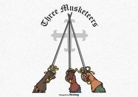 Tre Musketeers Hands Rising Swords Vector