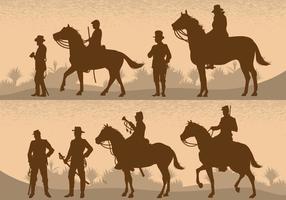 Kavallerie Schlachtfeld Silhouetten