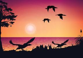 Loon solnedgång fri vektor