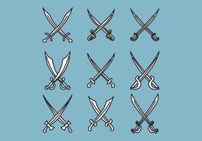 Sats av svärd vektor
