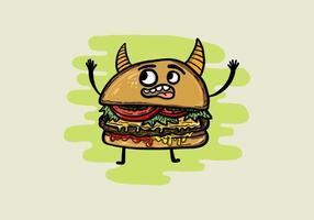 Dämon Cheeseburger Mann vektor
