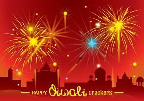Diwali Fire Crackers Festival Hintergrund vektor