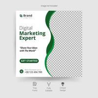 marknadsföring sociala medier mall med gröna vågiga detaljer vektor