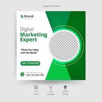 marknadsföring sociala medier mall i vitt och grönt vektor