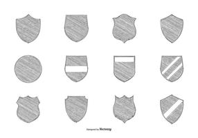 Bleistift Drawn Crest Shapes Collection vektor