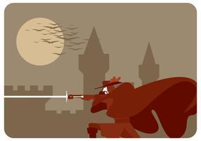 Röd caped musketeer vektor