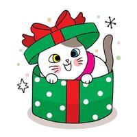Hand gezeichnete Weihnachtskatze in der grünen Geschenkbox