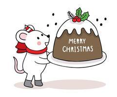 handgezeichnete Weihnachtsmaus und großer Kuchen
