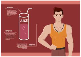 Personlig tränare pratar om Juice Benefits Vector