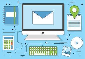Freie flache Design Vector Digital Office Icons